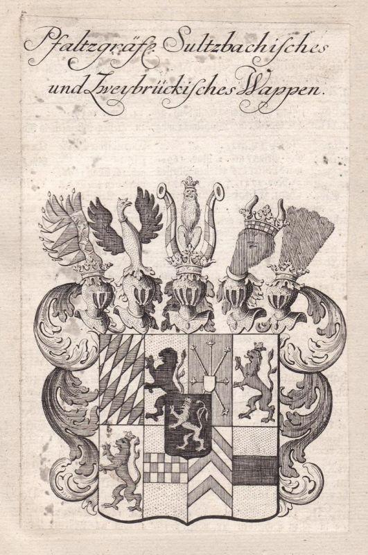 Pfalzgräfl. Sultzbachisches und Zweybrückisches Wappen - Zweibrücken Sulzbach Adel Wappen coat of arms Kupfers
