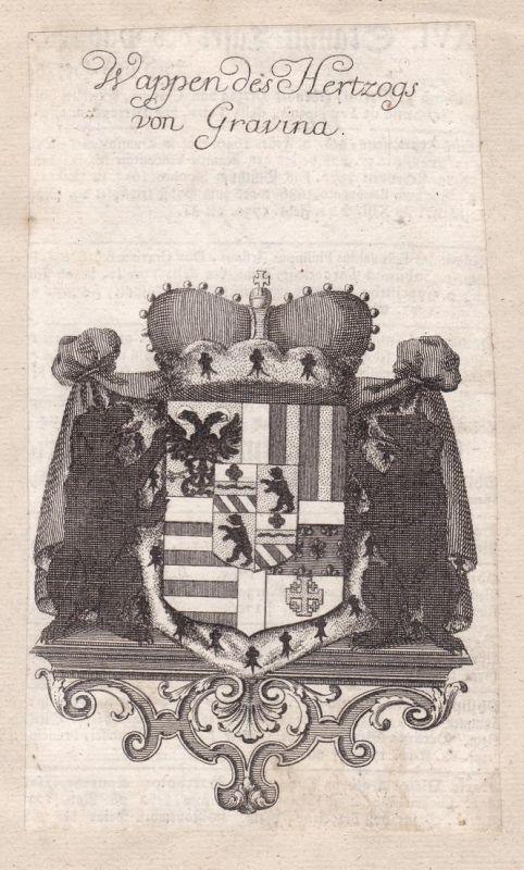 Wappen des Hertzogs von Gravina - Gravina Sizilien Italien Italia Italy Adel Wappen coat of arms Kupferstich a
