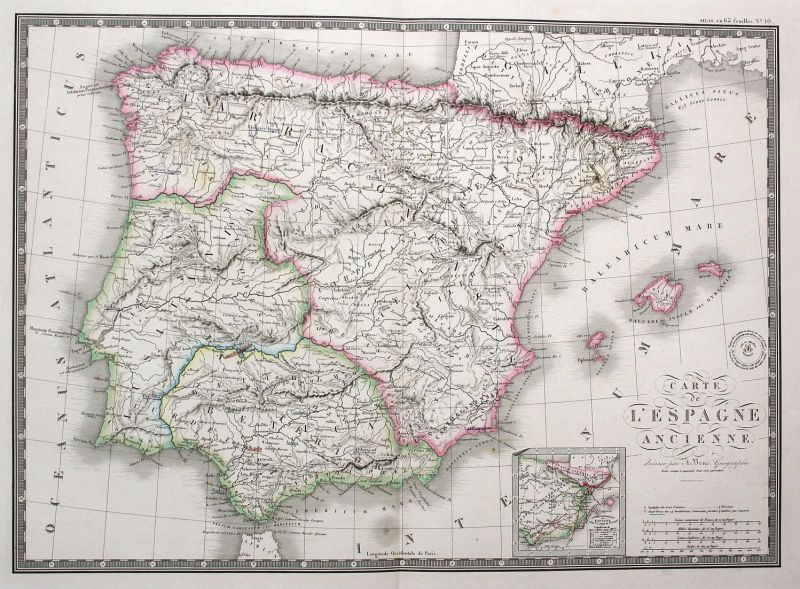 Carte de l'Espagne ancienne - Espana Spain Spanien Portugal Karte map Kupferstich antique print