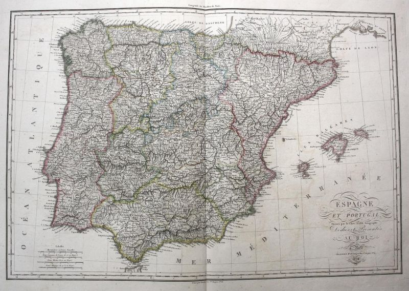 Carte de l'Iberie ou Espagne ancienne - Espana Spain Spanien Portugal Karte map Kupferstich antique print