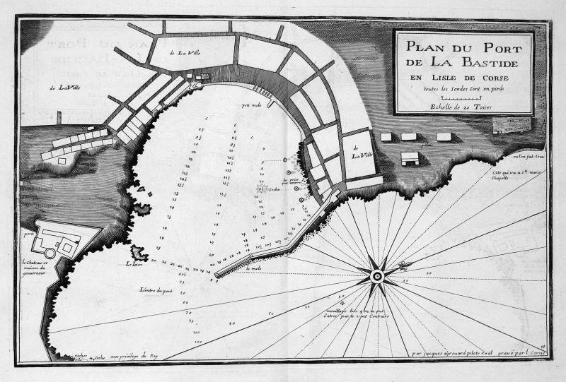 Plan du Port de la Bastide en l'Isle de Corse - Bastia Corse port gravure carte Karte map Kupferstich antique