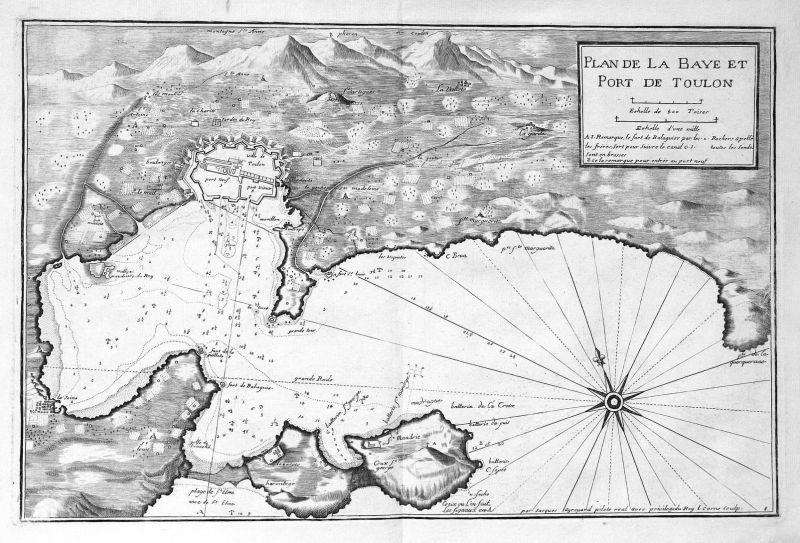 Plan de la Baye et Port de Toulon - Toulon Cote d'Azur gravure carte Karte map Kupferstich antique print