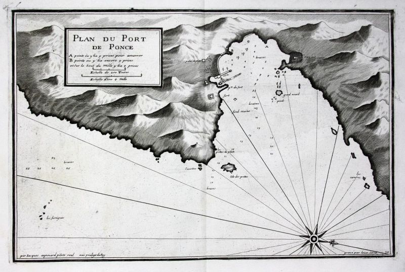 Plan du Port de Ponce - Ponza Latina incisione carta Italia Karte map Kupferstich antique print