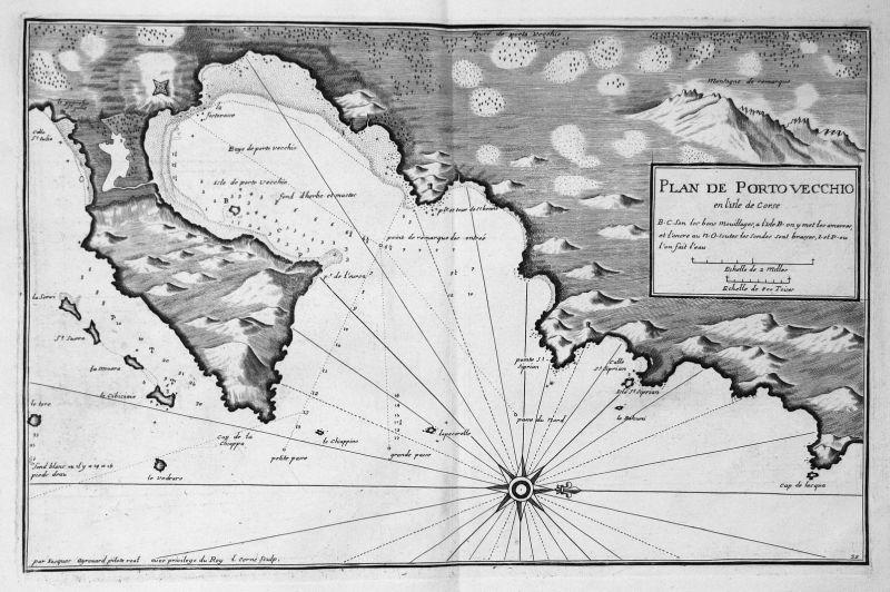 Plan de Porto Vecchio - Porto-Vecchio Corse carte gravure Korsika Karte map Kupferstich antique print