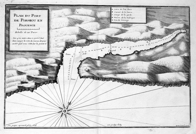 Plan du Port de Pormiou en Prouence - Calanque Port-Miou Cassis gravure carte Karte map Kupferstich antique pr