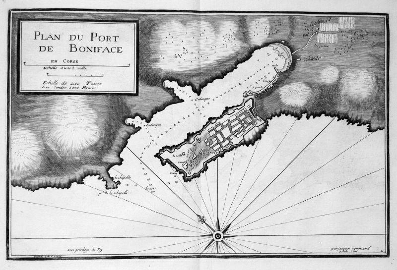 Plan du port de Boniface - Bonifacio Corse Korsika gravure carte Karte map Kupferstich antique print