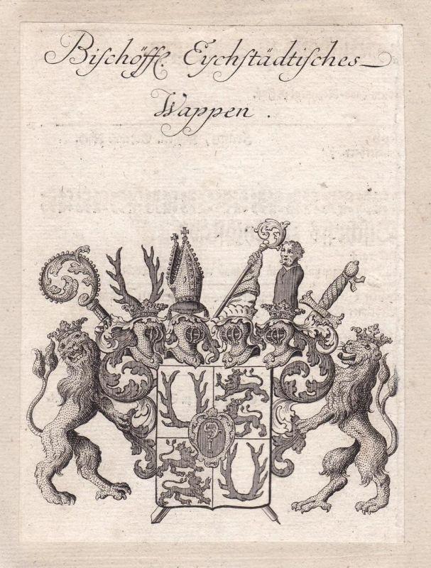 Bischöffl. Eychstädtisches Wappen - Eichstätt Bayern Bavaria Altmühltal Adel Wappen coat of arms Kupferstich a