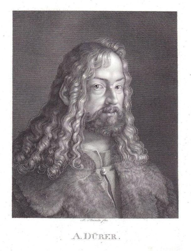 A. Dürer - Albrecht Dürer Maler Kupferstecher Nürnberg Portrait Kupferstich antique print