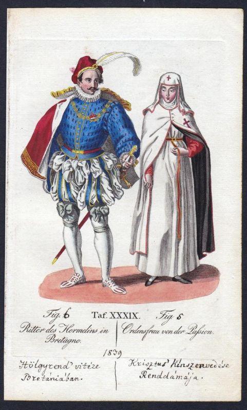 Ritter des hermelins in Bretagne - Hermelinorden Ritterorden vom Leiden Christi Orden Kupferstich antique prin