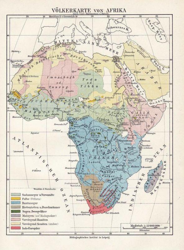 Völkerkarte von Afrika - Afrika Africa Volk people Asien Asia Arabia Arabien Madagaskar Madagascar Karte map