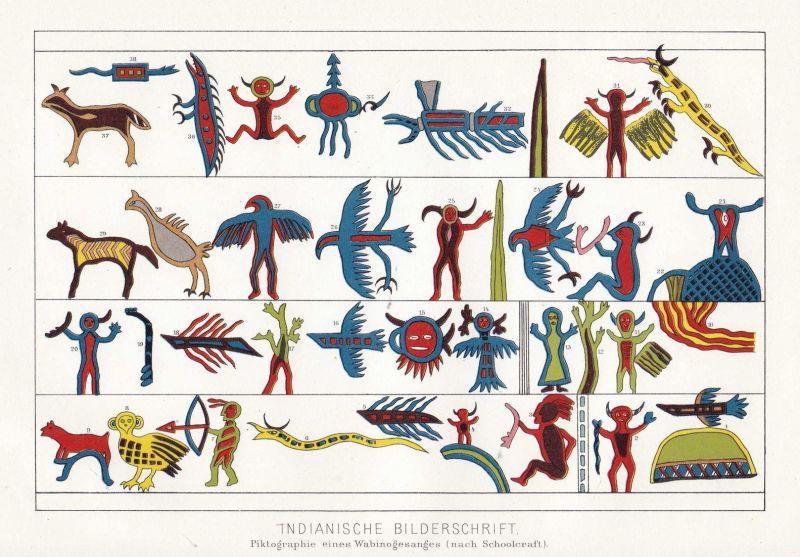 Indianische Bilderschrift - Indianer Indian Bilderschrift picture writing Aborigines Ureinwohner Lithographie
