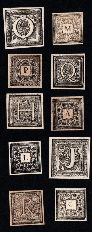 Konvolut von 10 Ornament Kupferstich-Buchstaben A, H, L, O, Q, B, M, J, C, P ornament letters antique print gr