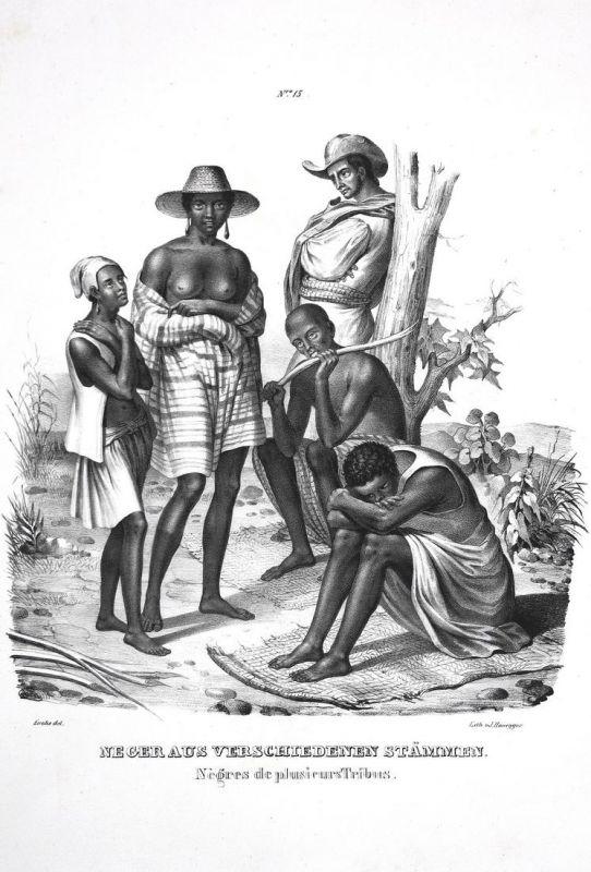 Neger aus verschiedenen Stämmen / Negres de plusieurs Tribus - Neger Negres Stämmen tribus tribes tribe Lithog