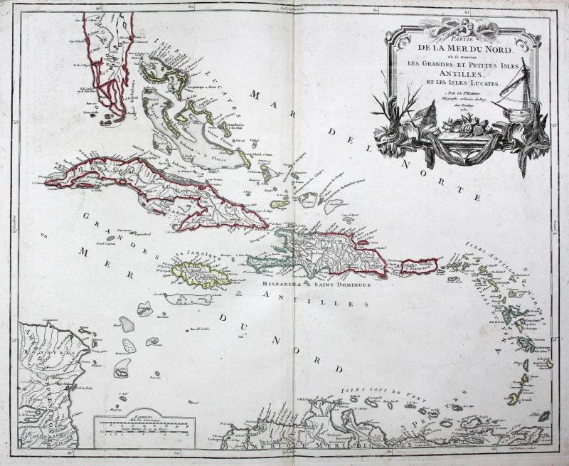 Partie de la Mer du Nord, ou se trouvent les Grandes et Petites Isles Antilles, et les Isles Lucayes - Kuba Cu