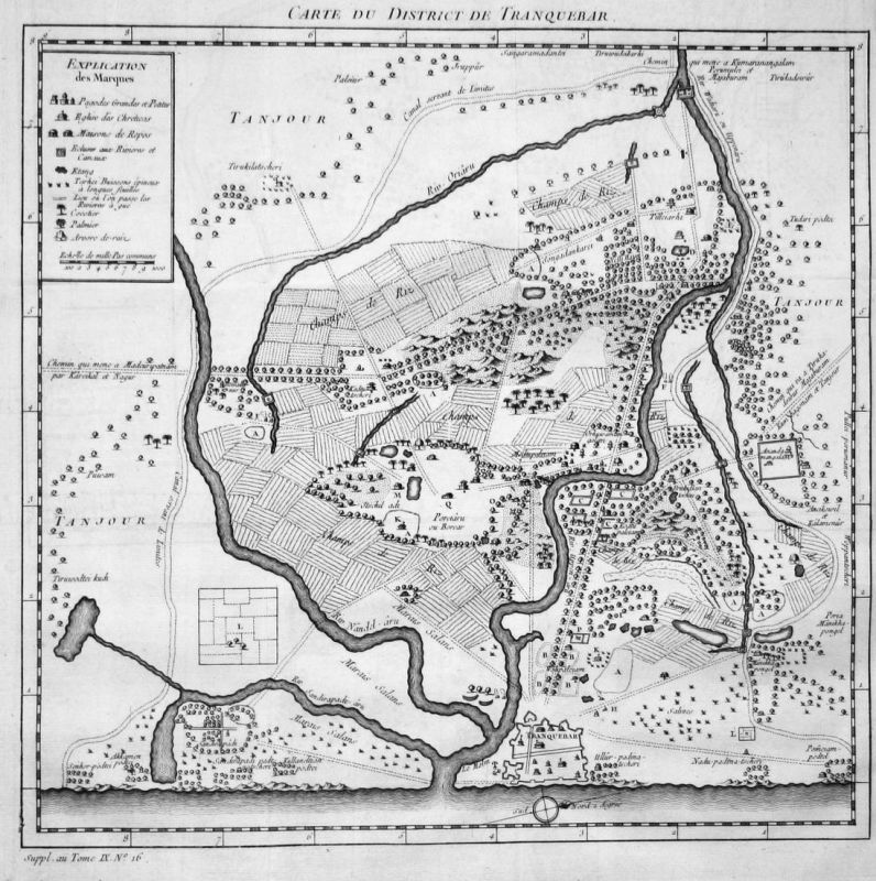 Carte du District de Tranquebar - Tharangambadi Indien India Asien Asia Karte map Kupferstich antique print
