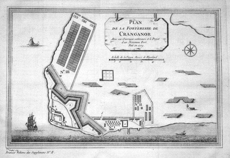 Plan de la Forteresse de Cranganor - Kottapuram Kodungallur Fort Cranganore Indien India map plan Kupferstich