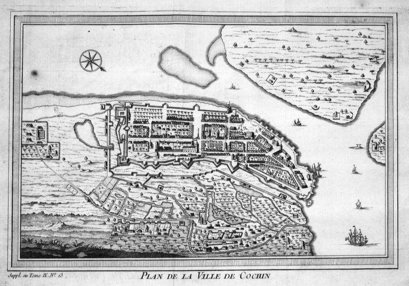 Plan de la ville de Cochin - Cochin Kochi Indien India Karte map Kupferstich antique print