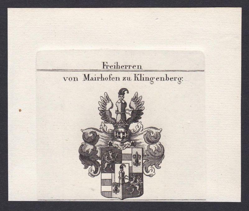 Freiherren von Mairhofen zu Klingenberg - Mairhofen Klingenberg Wappen Adel coat of arms heraldry Heraldik Kup