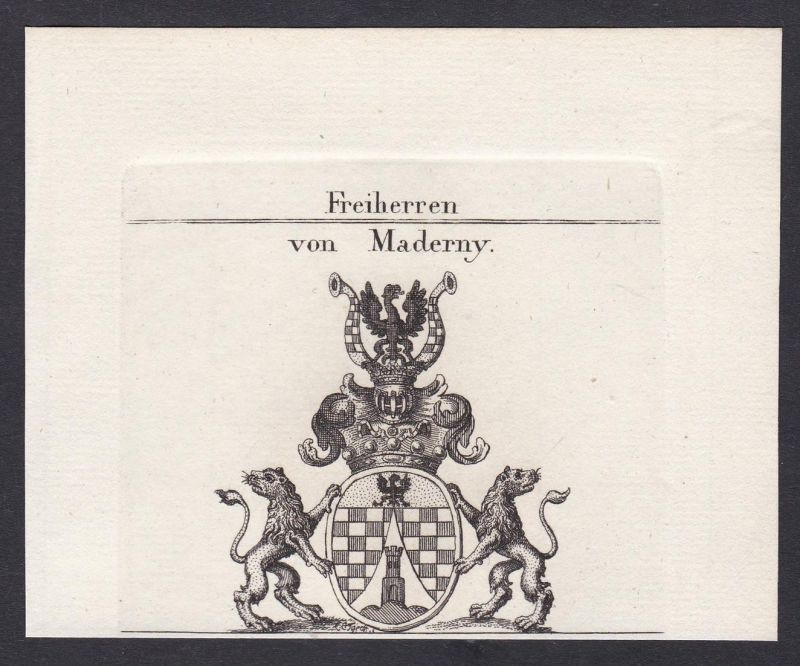 Freiherren von Maderny - Maderny Wappen Adel coat of arms heraldry Heraldik Kupferstich antique print