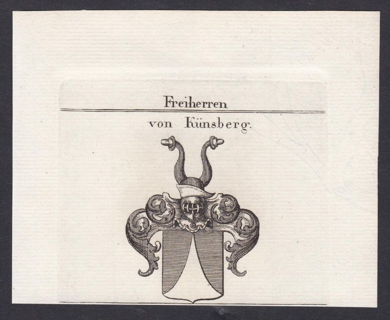 Freiherren von Künsberg - Künsberg Künßberg Franken Wappen Adel coat of arms heraldry Heraldik Kupferstich ant