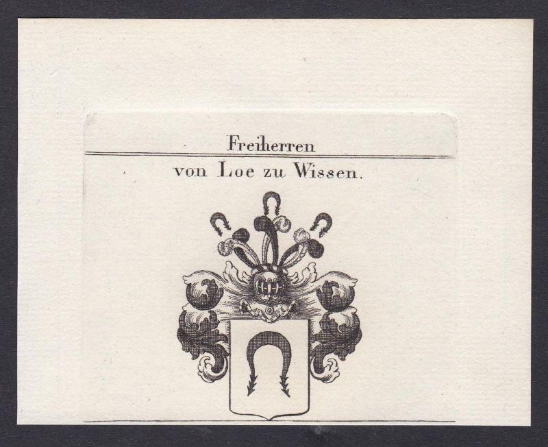 Freiherren von Loe zu Wissen - Loe Westfalen Wissen Wappen Adel coat of arms heraldry Heraldik Kupferstich ant