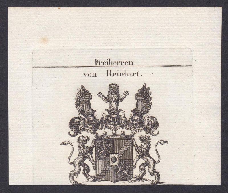 Freiherren von Reinhart - Reinhart Rheinhart Wappen Adel coat of arms heraldry Heraldik Kupferstich antique pr