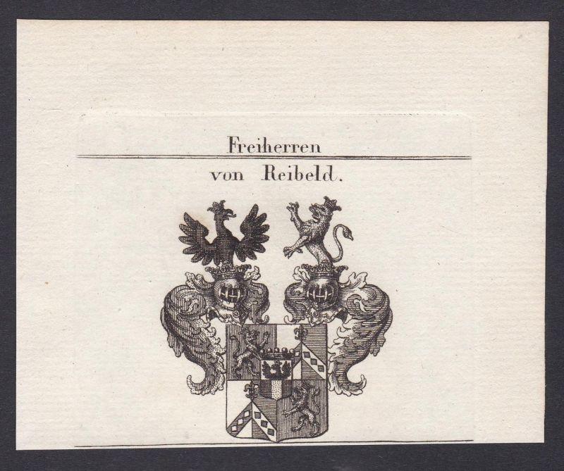 Freiherren von Reibeld - Reibeld Wappen Adel coat of arms heraldry Heraldik Kupferstich antique print
