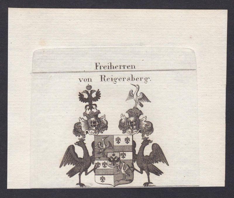 Freiherren von Reigersberg - Reigersberg Wappen Adel coat of arms heraldry Heraldik Kupferstich antique print