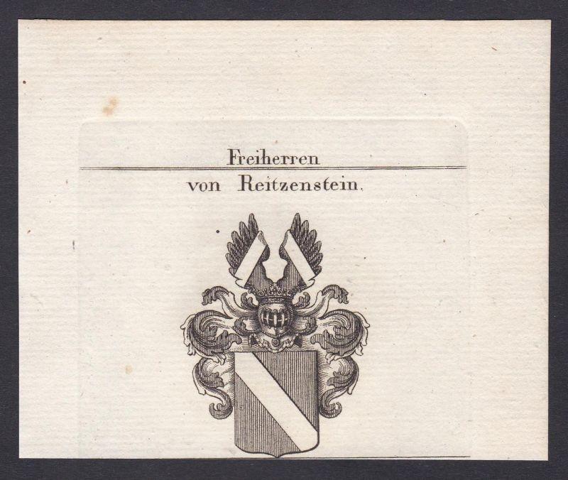 Freiherren von Reitzenstein - Reitzenstein Franken Wappen Adel coat of arms heraldry Heraldik Kupferstich anti