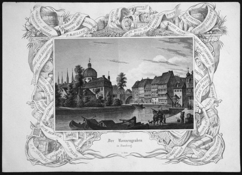 Der Nonnengraben in Bamberg - Nonnengraben Bamberg Fluss river Bayern gravure Stahlstich engraving
