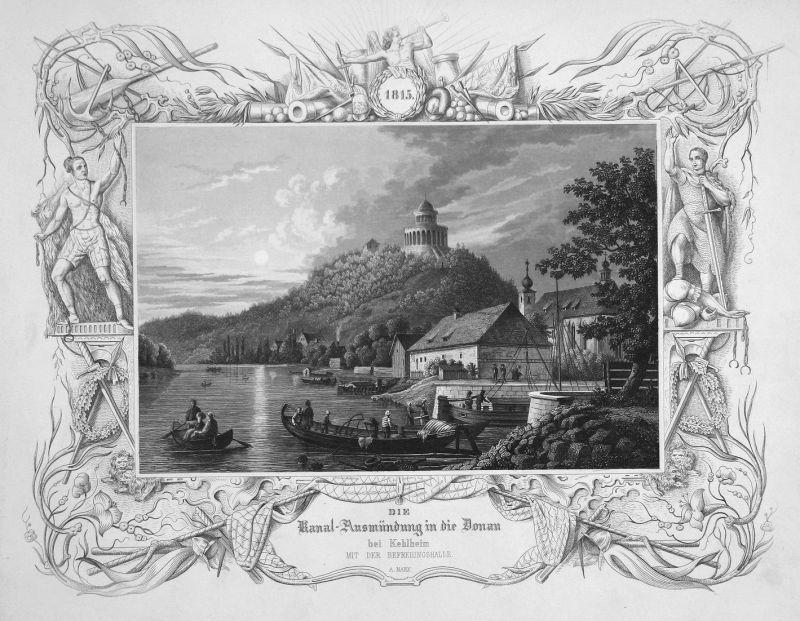 Die Kanal-Ausmündung in die Donau bei Kehlheim - Kelheim Kanal Donau Ausmündung Bayern gravure Stahlstich engr