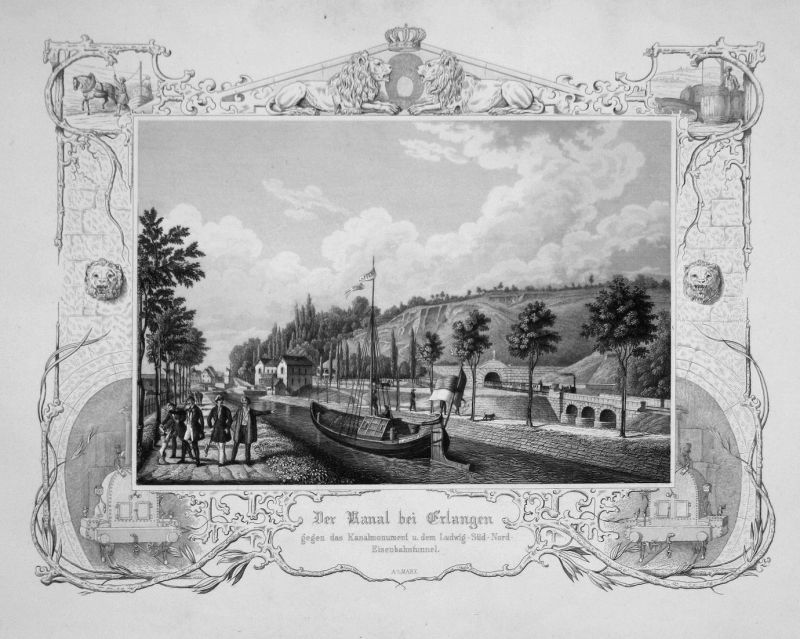Der Kanal bei Erlangen gegen das Kanalmonument u. dem Ludwig-Süd-Nord-Eisenbahntunnel - Erlangen Kanal Ludwig-