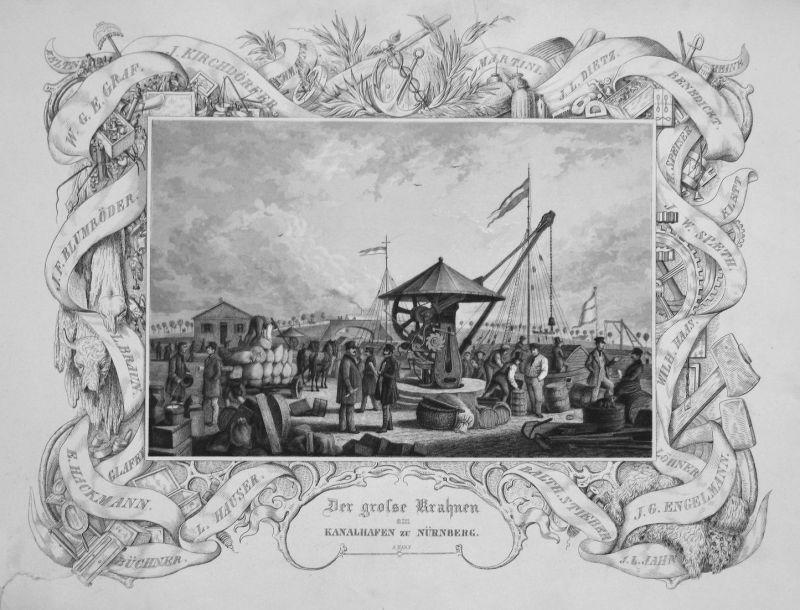 Der grosse Krahnen am Kanalhafen zu Nürnberg - Nürnberg Krahnen Kran Hafen Kanal Kräne Bayern gravure Stahlsti