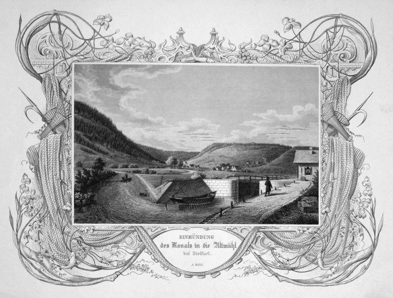 Einmündung des Kanals in die Altmühl bei Dietfurt - Dietfurt Altmühl Altmühltal Kanal Bayern gravure Stahlstic