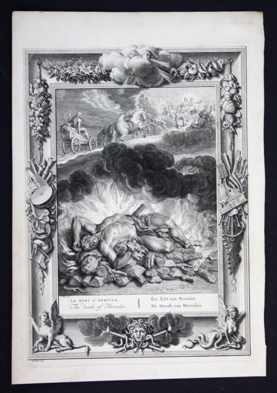 Der Todt von Hercules - Hercules death Herkules Tod Greek Mythologie mythology Kupferstich engraving