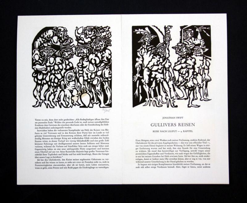 Drei Originallinolschnitte von Hermet Ripe zu Jonathan Swift Gullivers Reisen