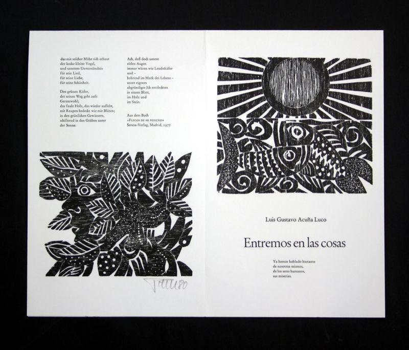 Original-Holzschnitt von Alfred Pohl zu Luis Gustavo Acuna Luco aus dem Buch Flecos de mi Poncho