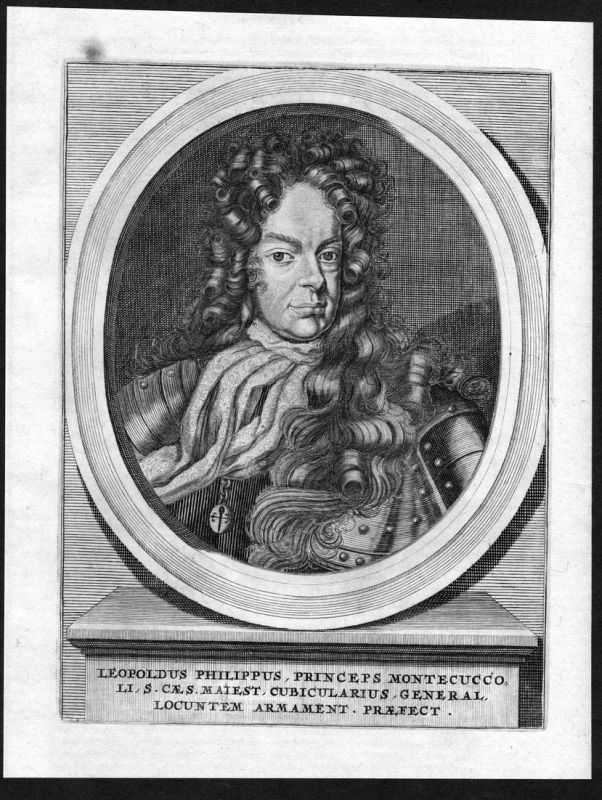 Leopoldus Philippus - Leopold Philipp Montecuccoli General Portrait Kupferstich antique print