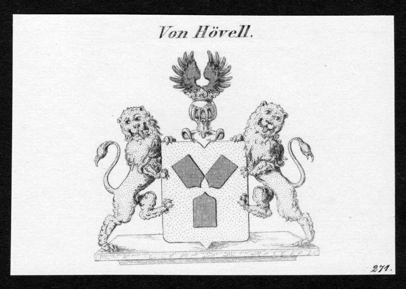 Von Hövell - Hövell Hoevell Wappen Adel coat of arms Kupferstich antique print heraldry Heraldik