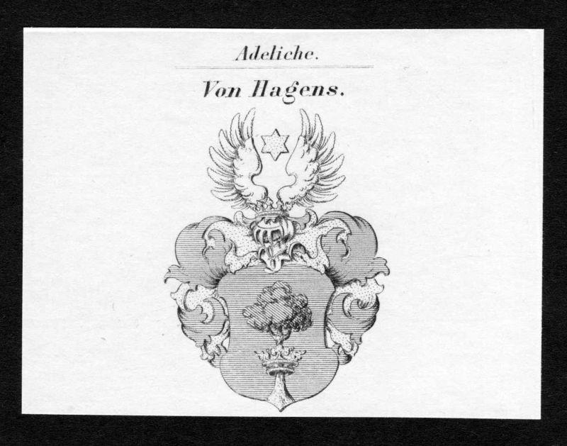 Von Hagens - Hagens Wappen Adel coat of arms Kupferstich antique print heraldry Heraldik
