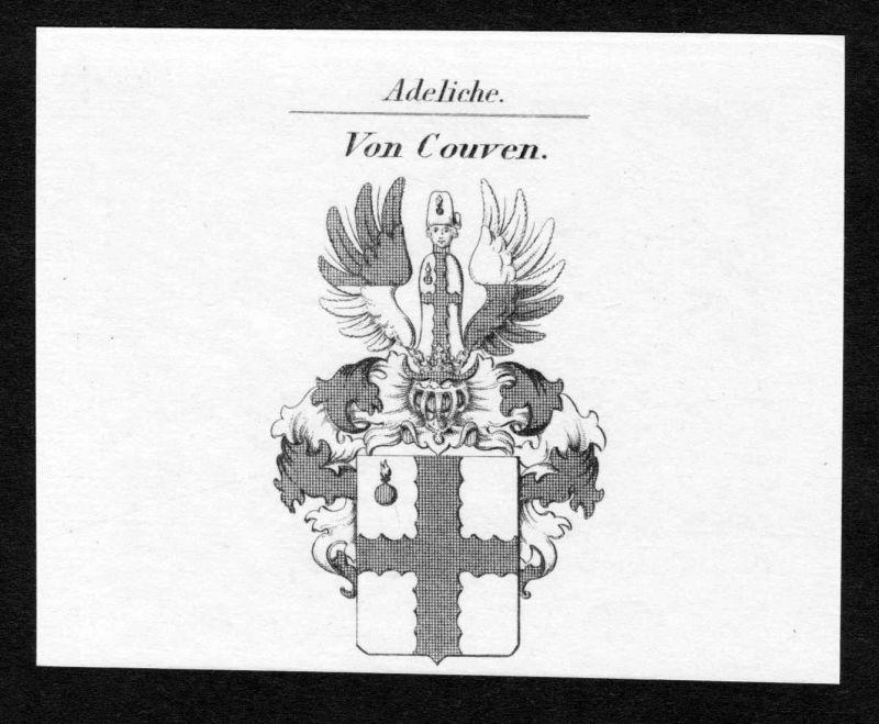 Von Couven - Couven Wappen Adel coat of arms Kupferstich antique print heraldry Heraldik