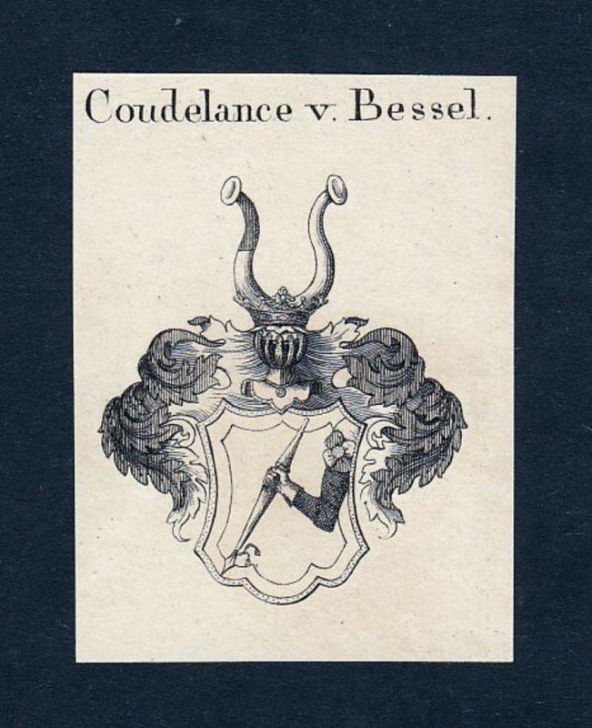Coudelance v. Bessel - Berneaux Bernuth Beschefer Coudelance Wappen Adel coat of arms heraldry Heraldik Kupfer