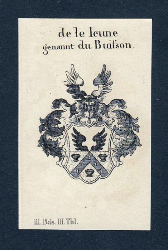 de le leune genannt du Buisson - Buisson Bullot Wappen Adel coat of arms heraldry Heraldik Kupferstich engravi