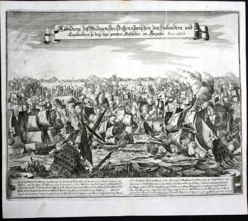 Abbildung deß Bludigen See Treffens zwischen den Holländern und Engelländern so drey tage gewehret geschehen i