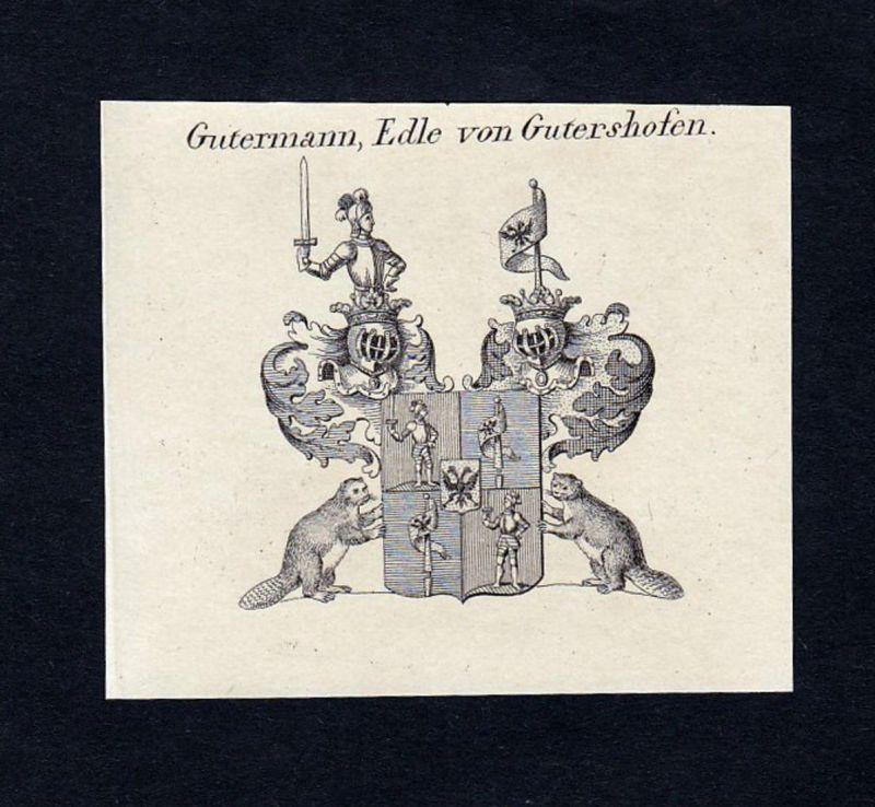 Gutermann, Edle von Gutershofen - Gutermann von Gutershofen Wappen Adel coat of arms Kupferstich antique print