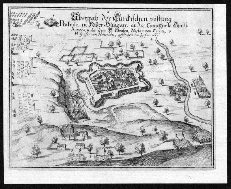 Übergab der Rürckischen vöstung Presnitz in Nider Hungarn an die Coniungirte Christl. Armeen unter dem H. Graf