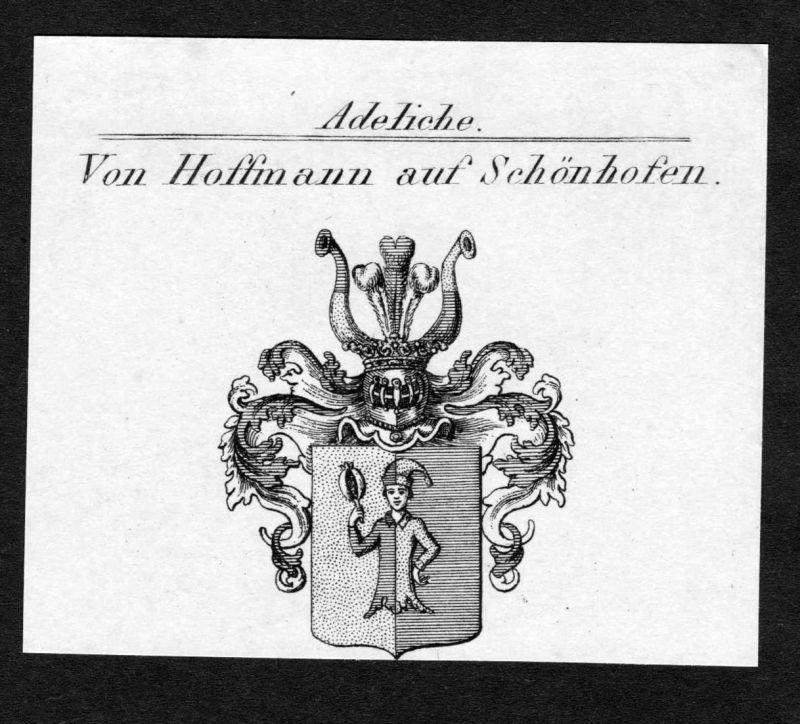 Von Hoffmann auf Schönhofen - Hoffmann Hofmann auf Schönhofen Schoenhofen Wappen Adel coat of arms Kupferstich