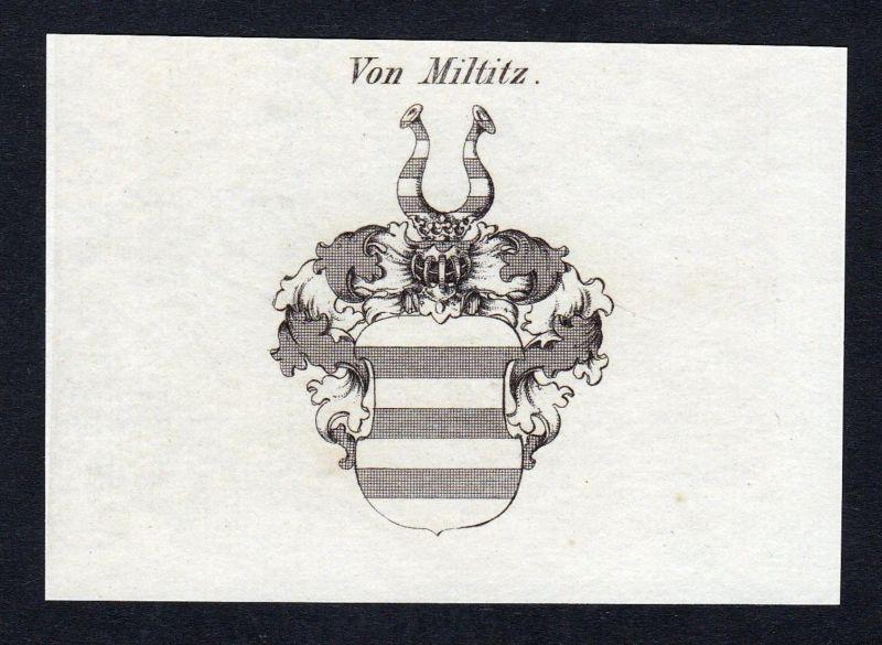 Von Miltitz - Miltitz Wappen Adel coat of arms Kupferstich antique print heraldry Heraldik