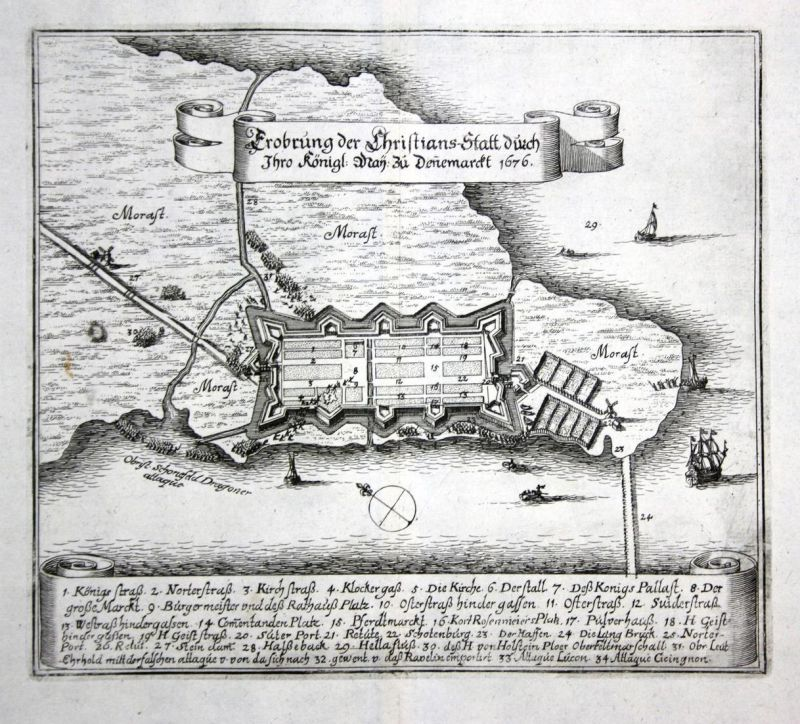 Erobrung der Christians-Statt durch Ihro Königl. May. zu Dennemarckt 1676 - Kristianstad Sverige Plan map Kart