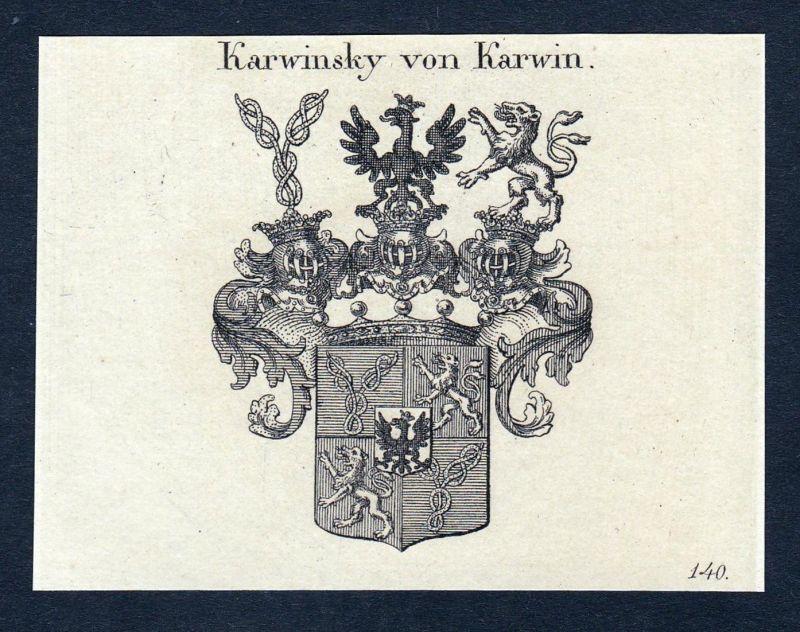 Karwinsky von Karwin - Karwinsky Karwin Wilhelm Wappen Adel coat of arms heraldry Heraldik Kupferstich engravi